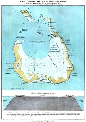 A map of a roughly circular atoll, with two large openings to the north and a wide area of mudflats in the southern part of the lagoon. Below is a cross section showing steep sided reefs enclosing a shallow lagoon.
