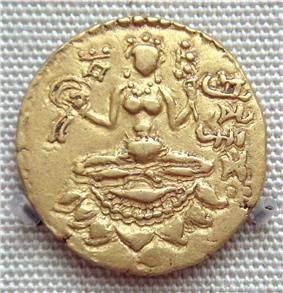 Coin of Vikramadytia Chandragupta II with the name of the king in Brahmi script, 5th century