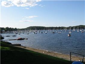 View of Mallets Bay (part of Lake Champlain) from Bayside Park near the center of Colchester