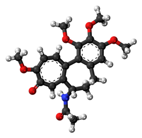Ball-and-stick model of the colchicine molecule