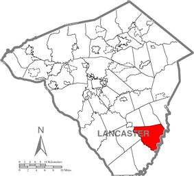 Map of Lancaster County highlighting Colerain Township
