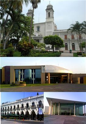From top left: Basílica Menor, Complejo Administrativo, Hotel Ceballos, University Hall
