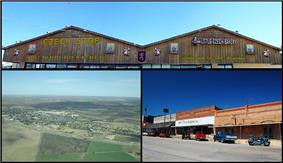 Top: Czech Stop & Little Czech Bakery, Bottom Left: Aerial view of the town of West, Texas — looking northeast, Bottom Right: View from Oak Street