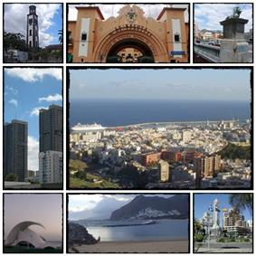 From the top, left to right: Iglesia Matriz de la Concepción, Mercado Nuestra Señora de África, Puente Serrador, Torres de Santa Cruz, Panoramic city, Auditorio de Tenerife, Playa de Las Teresitas and Plaza de España.