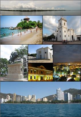 Top:Panorama view of the Cienaga Grande de Santa Marta, from inside the swamp, 2nd left:View of Mirador in Cabo San Juan del Guia, Tayrona Natural Park, 2nd right:Santa Marta Cathedral (La Casa del Farol), 3rd left:Statue of Simon Bolivar in Quinta of Saint Pedro Alejandrino, 3rd upper middle:Colombian National Pantheon in Barrio Mamatoco, 3rd lower middle:Night view of Snta Marta City Hall, 3rd right:Twilight view of Tribute to the Tayrona Ethnicity Square, Bottom:Panoramic view of Acuatico El Rodadero Park and resort area, from De Gaira area