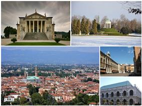 A collage of Vicenza showing: the Villa Capra