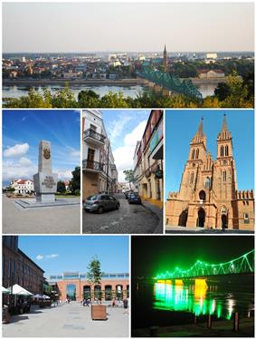 Collage of views of Włocławek. Top: View of Old Town, Middle of left: The monument on the Liberty Square, Center: Przechodnia Street, Middle of right: Cathedral, Bottom left: Shopping center Wzorcownia in faiance factory, Bottom right: The Bridge of Marschall Edward Rydz-Śmigły