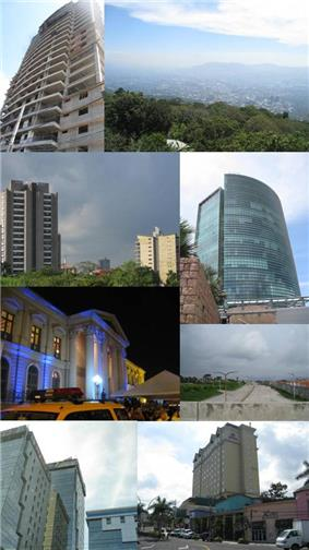 Collage of pictures of the San Salvador Metro Area, mostly recent buildings. From top: Alisios 115 (left) panorama (right), Capillas 515 and 525 (left), World Trade Center Torre Futura (right), National Palace (left), Diego de Holguin Expressway (right), Centro Financiero Telefonica (left), Hilton Princess San Salvador (right)