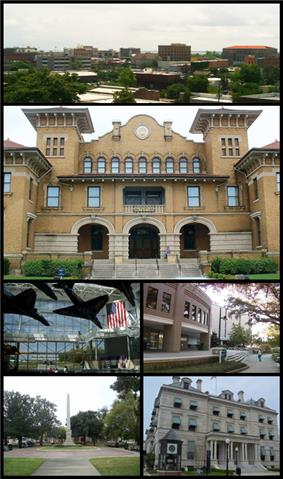 Up Clockwise: Pensacola Skyline, T. T. Wentworth, Jr. Florida State Museum, University of West Florida Library, Escambia County Courthouse, William Dudley Chipley Obelisk,  National Naval Aviation Museum