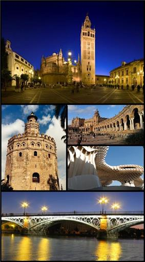 Clockwise from top: Seville Cathedral and Giralda, Plaza de España in the Maria Luisa Park, Metropol Parasol, the Isabel II (