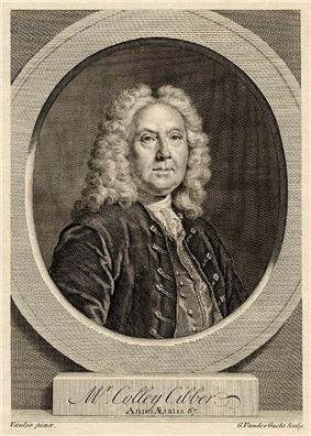Line engraving of a pudgy late-middle-aged man from the 18th century, wearing a full wig, velvet jacket, waistcoat and cravat, looking through a faux-architectural roundel, above a plinth bearing his name: Mr Colley Cibber, Anno Ætatis 67.
