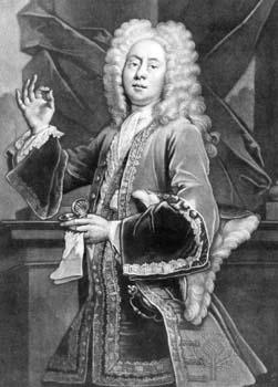 Interior scene of a young Cibber in fine 17th century clothes, richly embroidered, wearing a full wig, holding up a pinch of snuff in his right hand between thumb and forefinger, with the snuffbox and handkerchief in his left hand.