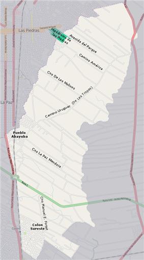 Street map of Colón Sudeste - Abayubá