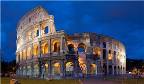 The Colosseum at dusk: exterior view of the best-preserved section