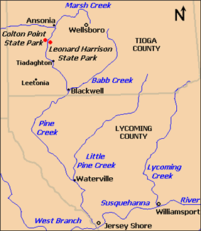 Map of Pine Creek flowing from north to south. Marsh Creek enters it in the north at Ansonia, the two parks are south of this, below is the village of Tiadaghton, and further south Babb Creek enters at Blackwell. Also in Tioga County are Wellsboro (east of the parks) and Leetonia (southwest of Tiadaghton). Lycoming County is further south and there Pine Creek receives Little Pine Creek at Waterville, and enters the West Branch Susquehanna River south of Jersey Shore. To the east is Lycoming Creek, which enters the river at Williamsport.