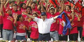 Ortega and his supporters celebrating his victory in the 2011 elections.