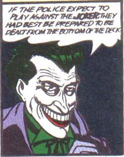 Comic book panel of the grinning Joker