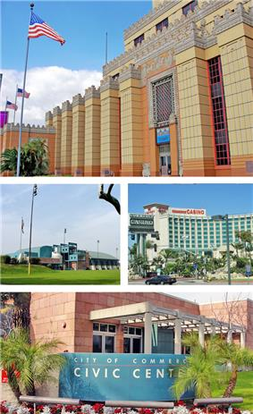 Images, from top, left to right: Citadel Outlets, Rosewood Park & Aquatorium, Commerce Casino, Civic Center