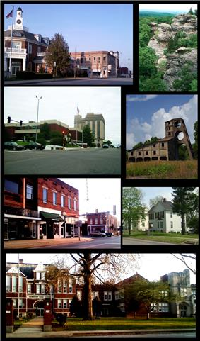 From top left: North Side of square, Garden of the Gods, Saline county courthouse and Clearwave building, O'gara mine tipple, South side of square, Poplar Street Homes, Harrisburg Township High school.