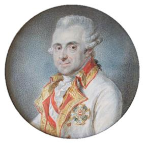 Painting of a slightly smiling white-haired man in a white military uniform with gold lapels and a Military Order of Maria Theresa Award. He wears his hair in late 18th century style with the hair curled over his ears.