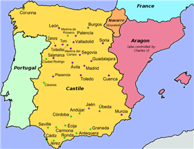 Map of Spain with cities colored by affiliation; see text for details.