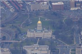 An aerial view of the Connecticut State Capitol.