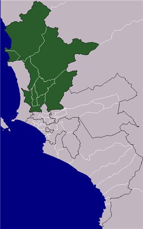 Location of Cono Norte in the Lima province