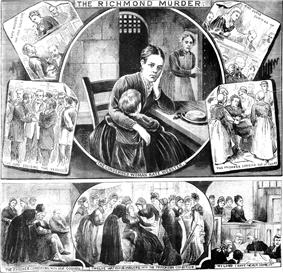 Various scenes showing the trial and conviction of Kate Webster