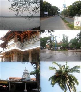 Clockwise from top: Kundapur River, Main Road, Shastri Circle, Coconut Tree, Anegudde Sri Vinayaka temple, Kollur Mookambika temple.