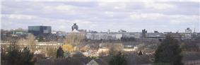 Corby town centre skyline, seen from Oakley Woods