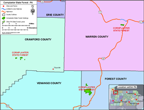 Location Map of Cornplanter State Forest Holdings