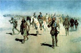 Painting of a company of armed men, some mounted