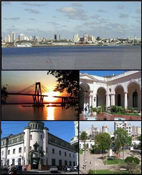 (From top to bottom; from left to right) Skyline on Paraná River; General Belgrano Bridge; Government House courtyard; San Martin Palace and Cabral Square.