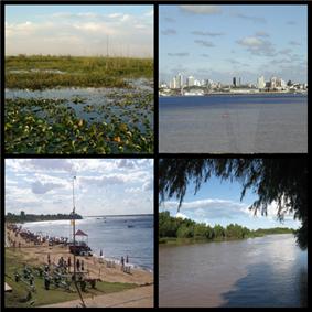 Clockwise from top: Iberá Wetlands, Corrientes City, Playa Pelicano in Paso de la Patria, Paraná River.