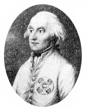 Black and white oval print shows a balding white-haired man with piercing dark eyes. He wears a white military coat.