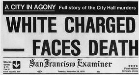 A reproduction of the top front page of the San Francisco Examiner on November 28, 1978. At the top is a black banner with white lettering reading