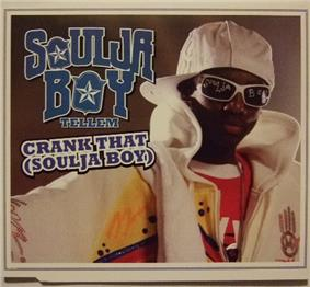 A portrait in the background colour of brown featuring the front profile of a young African-American man on the right. The man is wearing a white jacket over a red-yellow shirt, white sunglasses and a white cap. Centred to his left in graffiti-like blue font is his name 'Soulja Boy Tell 'Em' and the title 'Crank That (Soulja Boy)'until finally reaching the summit of the chart in January 2009, .