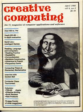 The front cover of the April 1980 issue of Creative Computing.