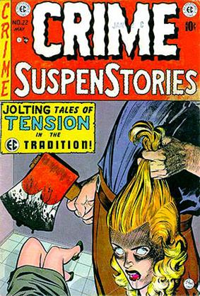 Cover shows a hand holding a woman's head by the hair; another hand holds a bloody axe over a woman's legs.
