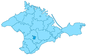 Simferopol (dark blue) on a map of Crimea.