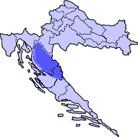 Lika (highlighted) on a map of Croatia