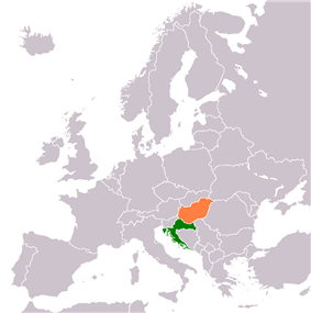 Map indicating locations of Croatia and Hungary