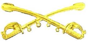 A computer generated reproduction of the insignia of the Union Army cavalry branch. The insignia is displayed in gold and consists of two sheafed swords crossing over each other at a 45 degree angle pointing upwards