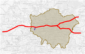 Map of the 5th phase of Crossrail 2019