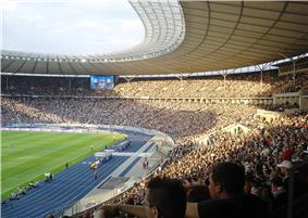 The Olympiastadion with its new blue race track