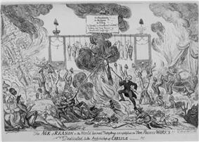 A caricature showing the world in flames, people hanged in the background, people burning and attacking a crucifix, a sign reading