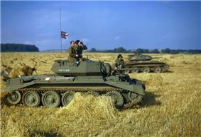 Tanks in a cornfield