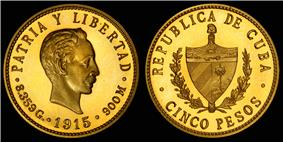 José Martí depicted on the 1915 gold 5 Cuban peso coin.