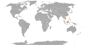 Map indicating locations of Cuba and Malaysia