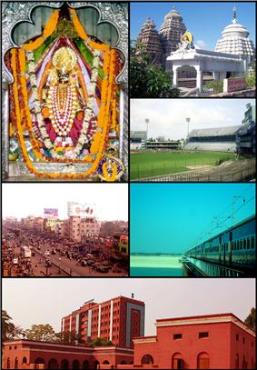 Clockwise from top left: Deity of Cuttack Chandi Temple, Uttareshwar Temple, Barabati stadium, Railway Bridge on River Mahanadi,  View of Odisha High Court from Ravenshaw Collegiate School premises, Badambadi Bus Terminal